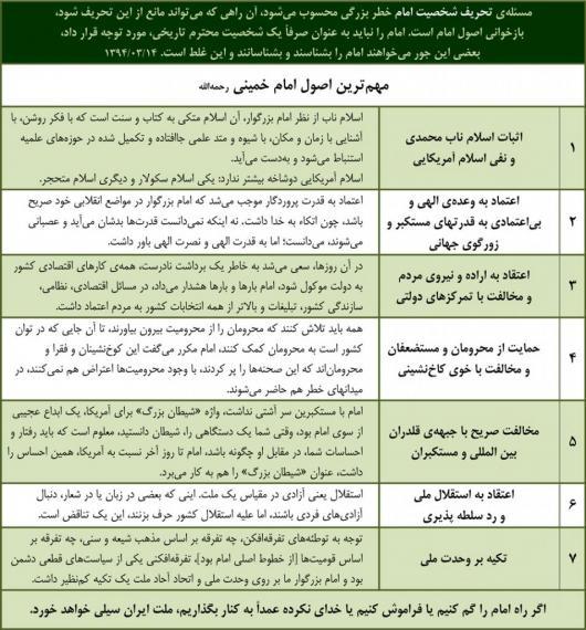 هفت اصل از مهمترین اصول اندیشه امام خمینی(ره) از منظر مقام معظم رهبری + جدول