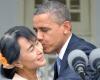 بوسيدن انگ سان سوچي توسط اوباما و